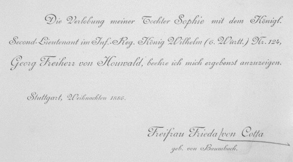 Beispiel einer Familienanzeige aus dem Jahr 1886